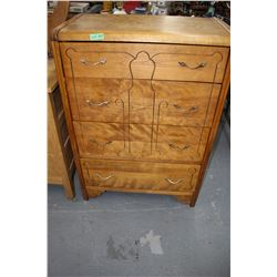 Old 4 Drawer Dresser & Dressing Table w/6 Drwrs. (Matching Water Fall Pattern) - No Mirror