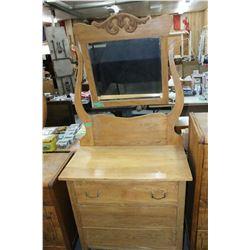 3 Drawer Dresser w/Harp Mirror Hanger & Beveled Mirror