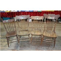 4 Press Back Chairs with Turned Spindles