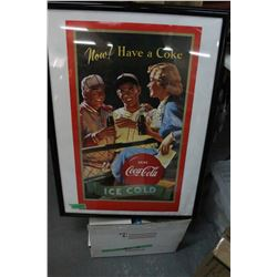 Coca Cola Poster - In a Frame w/Glass Front.  States in bottom right - Coca Cola is a Registered Tra