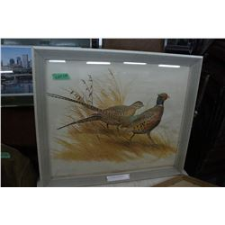 Ring Necked Pheasant Print by Maynard Race.  Was found in a Fraser Valley CN Rail Station