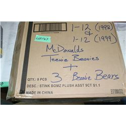 Box of 27 Teenie Beanie Babies & 3 Beanie Bears