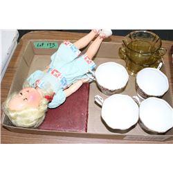 Flat w/Vintage Doll, Royal Albert Chintz Cups, Cream, Sugar & Spoon Set