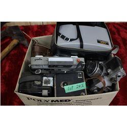 Box of 10 Box Cameras - 2 - 35mm; 2 Polaroid Cameras