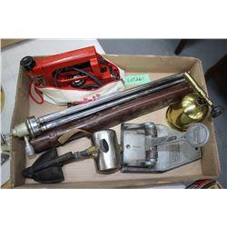 Flat w/Paper Punch, Shoe Stretcher, 2 Tripods, Travel Iron & Brass Torch