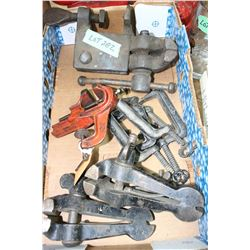 Flat of Old Clamps & a Vice