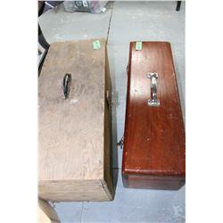 2 Wood Storage Boxes