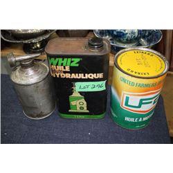 Whiz Hydraulic Jack Oil Tin & a UFA Quart Oil Tin
