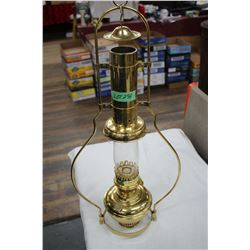 Aladdin Brass Hanging Lamp (#23) w/Flame Stop & Chimney