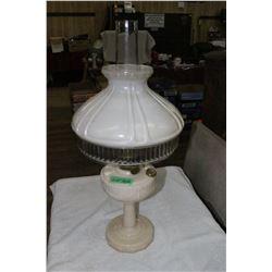 Lincoln Drape Aladdin Lamp (Cream Coloured Milk Glass) with Spider & Shade