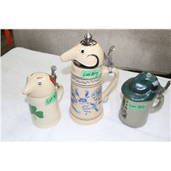 3 West Germany Character Steins with Flip Lids