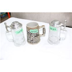 3 Tankards - 2 Glass & 1 Stoneware