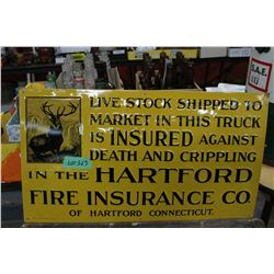 Hartford Fire Insurance Company Sign - Great Condition