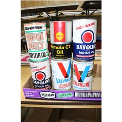6 Collectible Quart Oil Cans