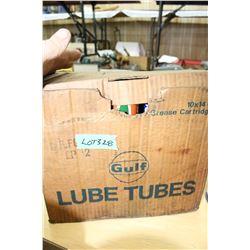 8 Tubes of Grease - 4 Gulf Oil, 3 UFA & 1 Esso - In a Gulf Oil Box