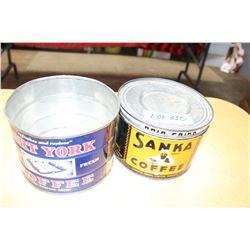 2 Coffee Tins - 1 Fort York (No Lid) & 1 Sanka Coffee (with Lid)