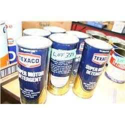 6 Cans of Texaco Super Motor Detergent - 1 is Empty