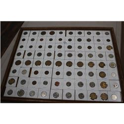 """Framed Collection of 80 Cdn. & American Coins - 16"""" x 20"""" - Approx. Value $90"""