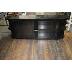 Black Cabinet w/Glass Doors - 6 ft. - Shelves on Each End & Inside