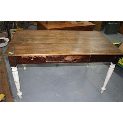 Old 1950's Table w/Turned Legs & a Center Drawer