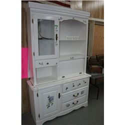 White 2pc. Cabinet Made of Solid Wood w/Roll-up Door - Nice Unit