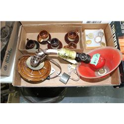 Flat of Misc. - Desk Light, Military Buttons, Locks & Child's Tea Set