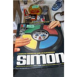 Simon Game & Box of Misc. Collectible Items - Tins & Toy Cars