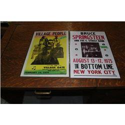Concert Posters - Bruce Springsteen (1975) & Village People (1979)