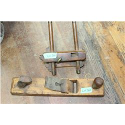 Old Trim Plane w/Guide Extension & an Old Wood Block Plan