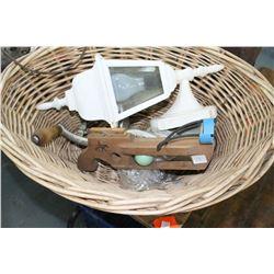 Wicker Basket w/Gate Lamp, Old Slingshot and a Meat Grinder