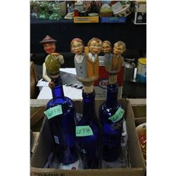 3 Blue Bottles with Character Corks