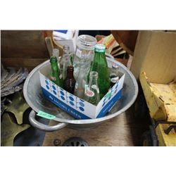 Old Bread Pan (not useable to make bread) & a Box of Old Bottles
