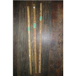 3 Old Yard Sticks - Named