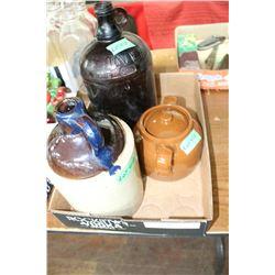 Sm. Crock Liquor Jug, #1 Bean Pot & a Brown Bottle