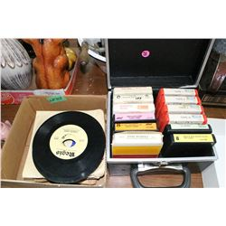 Box of 8 Track Tapes & a Box of 45 Records