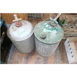 2 Galvanized 5 Gallon Gas Cans