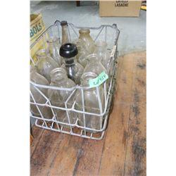 Old Milk Bottle Crate with 10 Milk Bottles