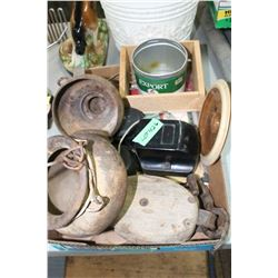 Flat of Misc, Phone Bell, Well Pump Parts, Pulley & Rasp