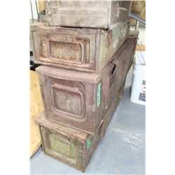 4 Old, Rusty Ammo Boxes
