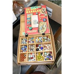 Bamboo Box of Marbles & a Big Book of Marbles Identification Guide