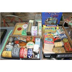 3 Flats of Collectible Tins & an Antique Tin Identification Book