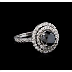 3.36 ctw Black Diamond Ring - 14KT White Gold
