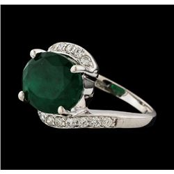 4.91 ctw Emerald and Diamond Ring - 14KT White Gold