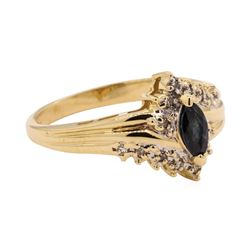 0.27 ctw Sapphire and Diamond Ring - 14KT Yellow Gold