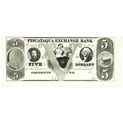 1800's $5 Piscataqua Exchange Bank, Portsmouth, NH Obsolete Bank Note