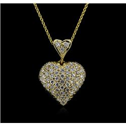 0.95 ctw Diamond Heart Pendant With Chain - 14KT Yellow Gold