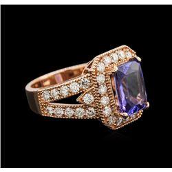 3.34 ctw Tanzanite and Diamond Ring - 14KT Rose Gold