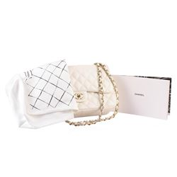 100% Authentic Chanel Flap Bag Jumbo White Lambskin with Gold Hardware