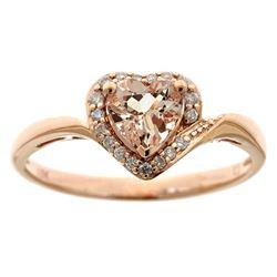 0.68 ctw Morganite and Diamond Ring - 10KT Rose Gold