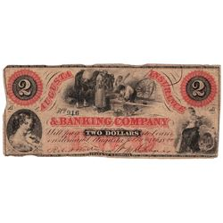 1860 $2 Augusta Insurance & Banking Co., GA - Obsolete Bank Note